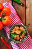 Ny hemlagad feg curry med kyligt i keramisk bunke för tappning royaltyfria foton