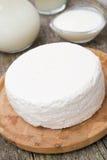 Ny hemlagad keso, yoghurt och mjölkar, den selektiva fokusen royaltyfri fotografi