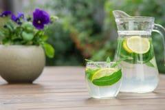 Ny hemlagad lemonad med is och mintkaramellen royaltyfri foto