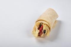 Ny hemlagad shawarma på vit bakgrund Fotografering för Bildbyråer