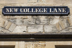 Ny högskolagränd i Oxford Arkivfoton