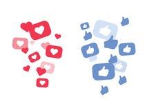 Ny hjärtaförälskelse, som, tummar upp valentin för illustration s för dagflyghjärtor Röda hjärtor av olika format flyger bort Som stock illustrationer