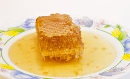 Ny honung med honungskakan. Royaltyfri Foto