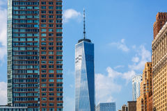 Ny horisont Freedom Tower USA för Lower Manhattan Arkivfoton