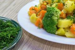 Ny huggen av dill och ångade grönsaker - potatisar, morötter, broccoli, havre äta som är sunt royaltyfria foton