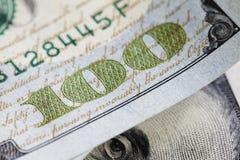Ny hundra closeup för dollarräkning Royaltyfri Foto