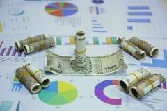 Ny indier 10 rupie och 500 rupie anmärkningar royaltyfri bild