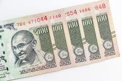 Ny indier 100 rupier sedlar arkivfoto