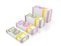 Ny indisk valuta stock illustrationer