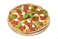 Ny italiensk pizza på vit bakgrund royaltyfri fotografi