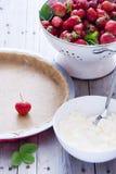 ny jordgubbe för cake Royaltyfri Foto