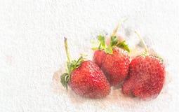 Ny jordgubbe för vattenfärg med abstrakt färg på vitbokbakgrund Målning av härligt konstverk vektor illustrationer