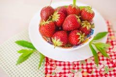 Ny jordgubbe med minut i den vita plattan på bomullsservett Royaltyfri Foto