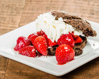 Ny jordgubbeefterrätt med chokladkakan Arkivfoton
