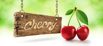 Ny körsbär, körsbär och träbräde royaltyfri fotografi