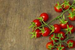 Ny körsbärsröd tomat på den lantliga wood tabellen Körsbärsröd tomat för bästa sikt Arkivfoton
