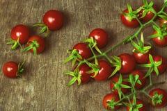 Ny körsbärsröd tomat på den lantliga wood tabellen Körsbärsröd tomat för bästa sikt Royaltyfri Bild