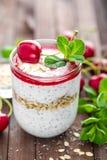 Ny körsbärsröd yoghurt med havre och chiafrö royaltyfri foto