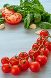 Ny körsbärsröda tomater, basilikasidor och vitlök på grånar det konkreta köksbordet Ingredienser för sallad Ingredienser och kök  royaltyfria bilder
