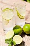 Ny kall sodavatten för uppfriskningdrinkmineralvatten med limefrukt och mintkaramellen fotografering för bildbyråer