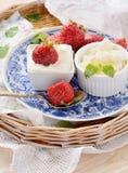 Ny keso med jordgubbar Arkivfoto
