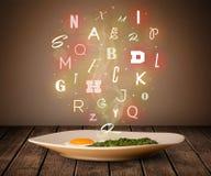 Ny kockmat med färgrika bokstäver på trä arkivbild