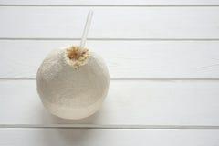Ny kokosnöt med att dricka sugrör Arkivfoton