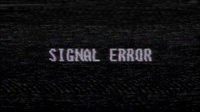 Ny kvalitet för Retro för videogameSIGNALFEL för text för dator gammal för tv för tekniskt fel för störning för oväsen för skärm  stock video