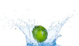 Ny limefrukt i vattenfärgstänk på vit backround arkivfoto