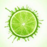 Ny limefrukt med färgstänk Royaltyfri Foto