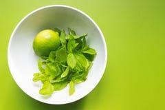 Ny limefrukt med mintkaramellen i den vita koppen på gräsplan Arkivfoto