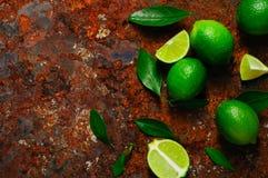 Ny limefrukt med sidor på rostig metallbakgrund Arkivbilder