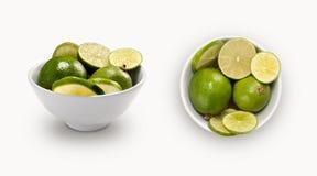 Ny limefrukt som isoleras som isoleras i en bunke Arkivbilder