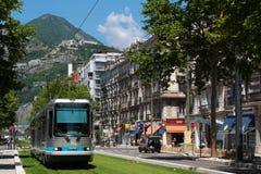 Ny linje för spårväg E av Grenoble Arkivfoton
