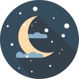 Ny månenatt, gult, beståndsdel, dröm, lägenhet, sömn, läggdags, teckning som är ljus Arkivbilder