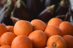 Ny mogen frukt av apelsiner travde upp med mörk bakgrund av aubergine arkivbild