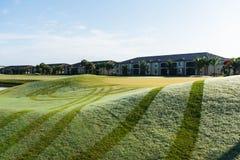 Ny morgondagg på golfbanan arkivfoto