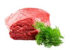 Ny nötkötttjock skiva med dill som isoleras på vit bakgrund Royaltyfria Bilder