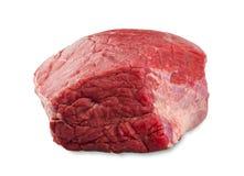Ny nötkötttjock skiva som isoleras på vit bakgrund Fotografering för Bildbyråer