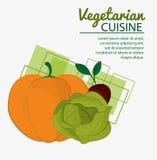 Ny naturlig vegetarisk kokkonst för pumpagrönsallatbeta vektor illustrationer
