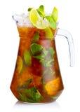 Ny nonalcoholic coctail med limefrukt-, äpple- och gräsplanmintkaramellleav Royaltyfria Foton