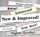 Ny och förbättrad uppdatering Upgrad för produkt för tidningsrubrik bättre Royaltyfri Fotografi