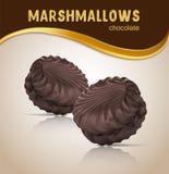 Ny och läcker marshmallow Marshmallows i choklad Designbeståndsdelar för att förpacka för marshmallow royaltyfri illustrationer