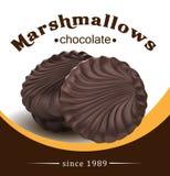 Ny och läcker marshmallow Marshmallows i choklad Designbeståndsdelar för att förpacka för marshmallow vektor illustrationer