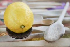 Ny och mogen citron på en träsked Royaltyfri Foto