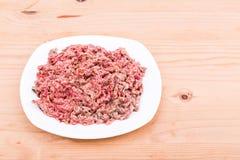 Ny och näringsrik finhackad hundmat för rått kött på plattan Royaltyfri Foto