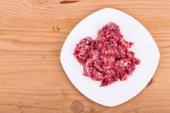 Ny och näringsrik finhackad hundmat för rått kött på plattan Royaltyfria Bilder