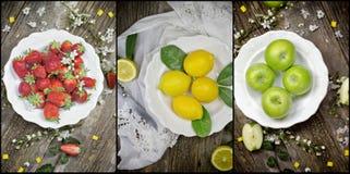 Ny organisk frukt på den vita lantliga plattan Fotografering för Bildbyråer