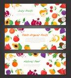 Ny organisk frukt - uppsättning av moderna färgrika vektorillustrationer Fotografering för Bildbyråer