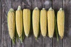 Ny organisk gul majs på trätabellen Top beskådar Arkivfoto